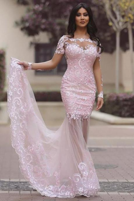 Sexy Illusion Pink Trumpet Prom Dress, Long Sleeved Sweep Train Prom Dress with Lace Appliques, Sexy See-through Sequins Tulle Prom Dress, #020102452