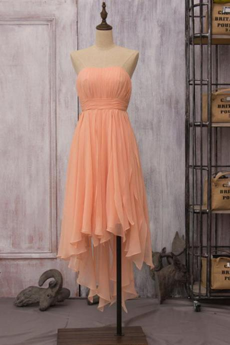 Asymmetrical Orange Bridesmaid Dresses, Unique High Low Bridesmaid Dress, Elegant Strapless Chiffon Bridesmaid Dress with Soft Pleats, #01012523