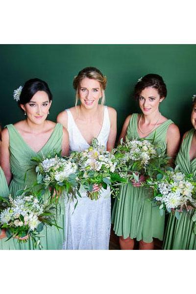 Sexy V-neck Bridesmaid Dresses with Ruching Detail, Modern Sage Chiffon Bridesmaid Dresses, Inexpensive Knee-length Green Bridesmaid Dress, #01012573