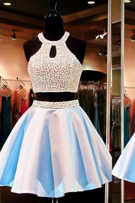 Jewel Neck Crystal Pearl Open Back Short Prom Dress, Sleeveless A-line Two Piece Mini Prom Dress, Princess Crop Top Key Holes Prom Dress, #020102471