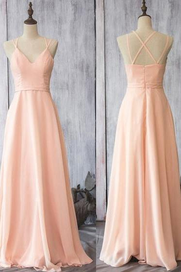 Girly Pearl Pink Chiffon Bridesmaid Dresses, Wholesale Spaghetti Straps Bridesmaid Dresses, Flattering Long Bridesmaid Dresses, #01012524