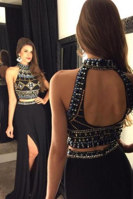 High Neck Black Two Piece Chiffon Long Prom Dress, Beaded Front Split Floor Length Prom Dress, Crop Top Open Back Sweep Train Prom Dress, #020102476