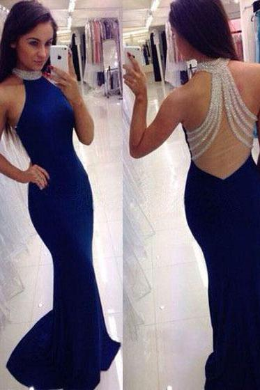 Sparkling Jewel Neck Beaded Tulle Back Prom Dress, Royal Blue Long Chiffon Prom Dress, Sexy Silk-like Satin Trumpet Sweep Train Prom Dress, #020102490