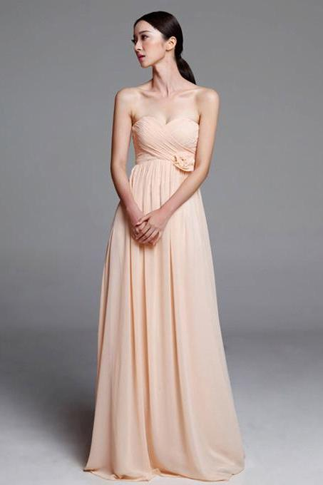 Discount Empire Bridesmaid Dresses, Long Chiffon Bridesmaid Dresses with Flowers, Pearl Pink Sweetheart Bridesmaid Dresses, #01012487
