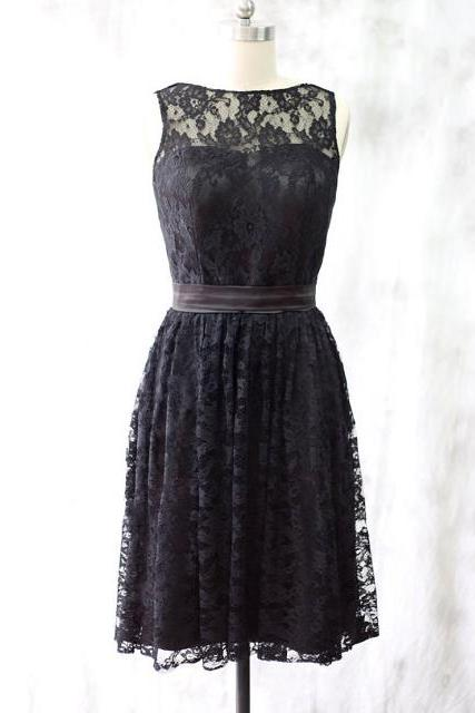 Knee-length Lace Bridesmaid Dress, Elegant Black Lace Bridesmaid Dress, Illusion Neck Bridesmaid Dress with a self-tie Sash, #01012527