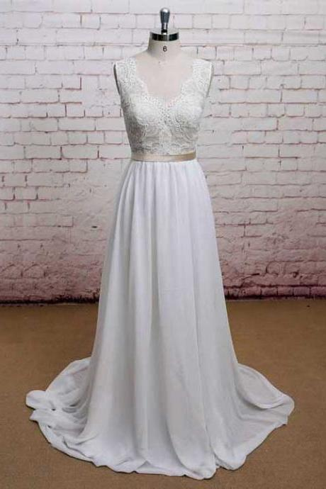 Scalloped Neck Lace Sash Long Wedding Dress, V Neck Low Back Covered Buttons Bridal Gown, Beautiful Chiffon Sweep Train Wedding Dress, #00021225