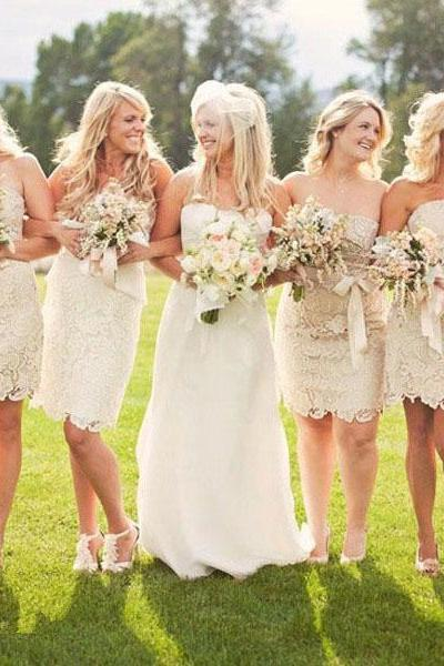 Strapless Champagne Short Column Bridesmaid Dress, Sleeveless Mini Sheath Lace Bridesmaid Dress, Elegant Sash Bridesmaid Dress, #01012574