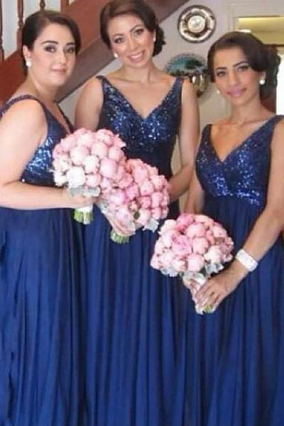 Sparkling Sequined V-neck Bridesmaid Dress, Vintage Royal Blue Chiffon Bridesmaid Dress, Elegant Empire Long Bridesmaid Dress, #01012579