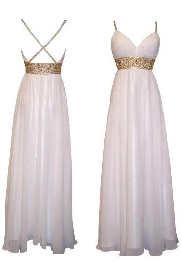 Spaghetti Straps A-line Bridesmaid Dress, Crisscross White Bridesmaid Dress, Empire Beaded Long Chiffon Bridesmaid Dress, #01012615
