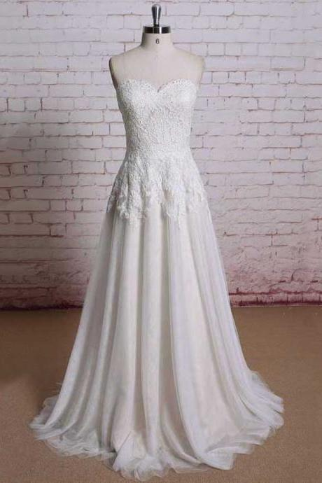 Beautiful Simple Sweetheart Wedding Dresses, Causal Lace Bridal Gown with Sweep Train, Elegant Ivory Chiffon Long Wedding Dresses, #00021354