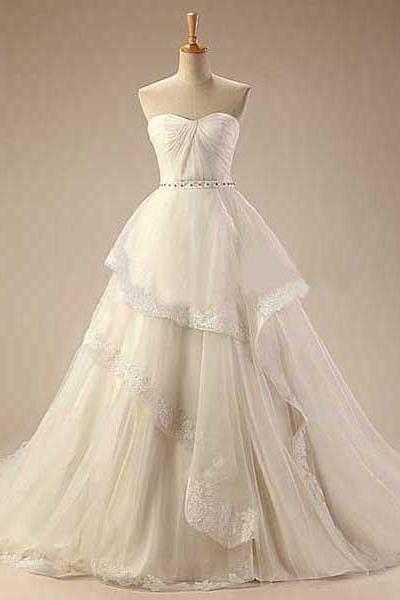 Pretty Sweetheart Wedding Dresses with Chapel Train, Ivory Tulle Bridal Gown with Lace Appliques, Beaded Royal Ball Gown Wedding Dress, #00021414