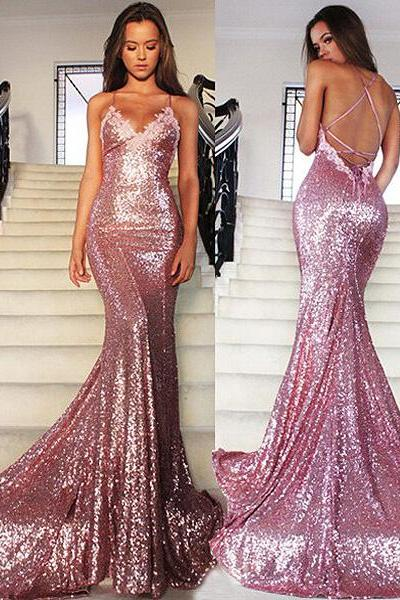 Sexy Spaghetti Straps Pink Glitter Prom Dress, Sparkling Sequined Open Back Prom Dress with Lace Appliques, Criss Cross Long Prom Dress, #020102499