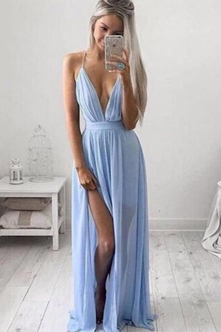 Sexy Deep V-neck Open Back Spaghetti Straps Prom Dress, Mist Blue Long Front Split Long Prom Dress, Criss Cross A-line Chiffon Prom Dress, #020102501