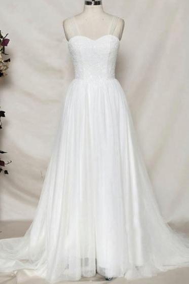 Sweetheart Lace Tulle A-line Long Wedding Dress Featuring Sheer Back