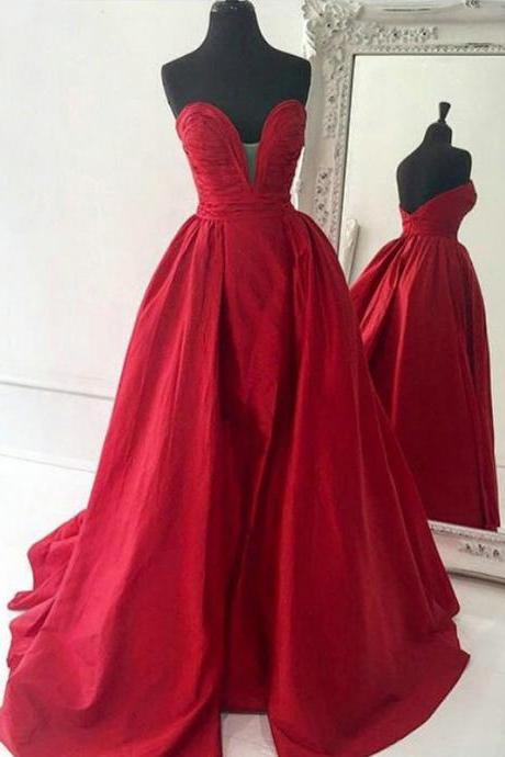 Ruched Sweetheart Floor Length Prom Dress, Vintage Red Long Princess Prom Dress, Sexy Low Back Sweep Train Satin Prom Dress, #020102672