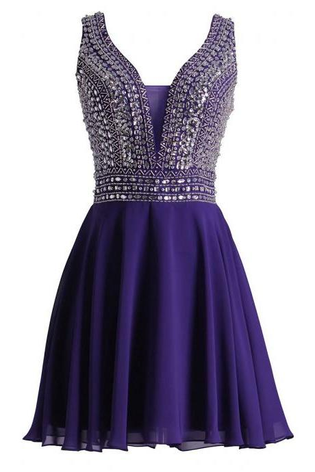 Plunging V Neck Tulle Short Prom Dress, Sparkling Crystal Beaded Purple Mini Prom Dress, V Back A-line Chiffon Prom Dress, #020102676