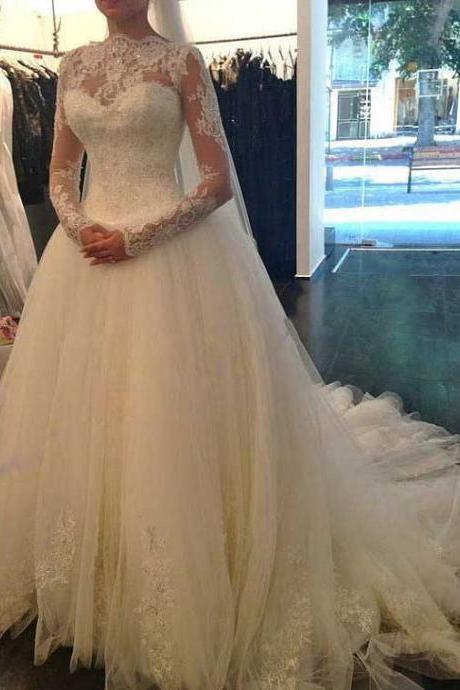Scalloped Jewel Neck Illusion Long Wedding Dress, Fairytale V Back Long Sleeves Lace Bridal Gown, Tulle Ball Gown Chapel Train Wedding Dress, #00021194