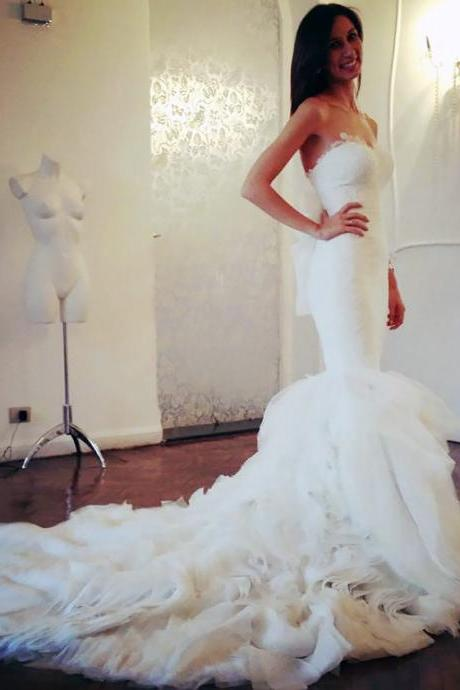 Sexy Sweetheart Mermaid Wedding Dress, Unique Back Pure White Chapel Train Bridal Gown, Luxurious Tiered Organza Long Wedding Dress, #00021505