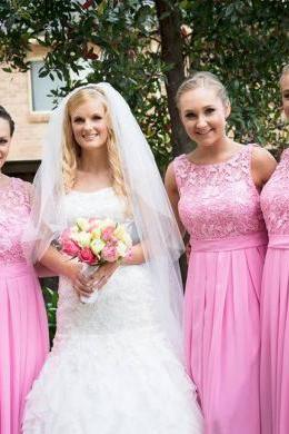 Elegant Pink Lace Bridesmaid Dresses, A-line Floor-length Bridesmaid Gowns, Fabulous Illusion Neck Chiffon Sleeveless Bridesmaid Dress, #01012951
