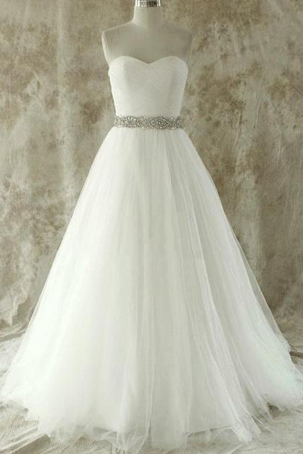 Sumptuous Sweetheart A-line Long Wedding Dress, White Floor Length Sweep Train Bridal Gown, Elegant Crystal Beaded Tulle Wedding Dress, #00020609