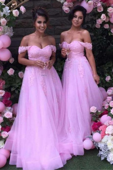Off-the-Shoulder Lace Appliques A-line Bridesmaid Dress, Sexy Pink Long Bridesmaid Dress, Princess Tulle Bridesmaid Dress, #01012926