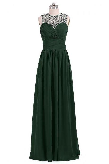 Forest Green Long Chiffon A-Line Pleated Prom Dress Featuring Jewelled Neck Ruched Sweetheart Bodice and Open Back Detailing