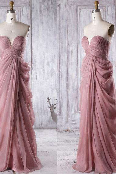 Unique Quartz Bridesmaid Dresses, Sweetheart Bridesmaid Gowns with Gorgeous Ruffles, Chiffon Floor-length Empire Bridesmaid Dresses, #01012933