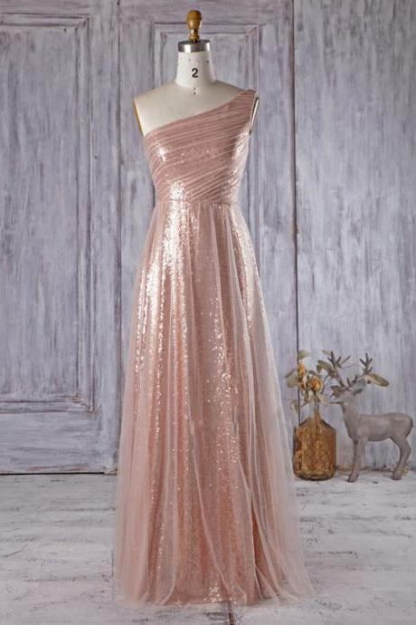 Sparkly Rose Golden Bridesmaid Dresses, Unique One Shoulder Bridesmaid Gowns, Asymmetric A-line Tulle Long Bridesmaid Dress, #01012934