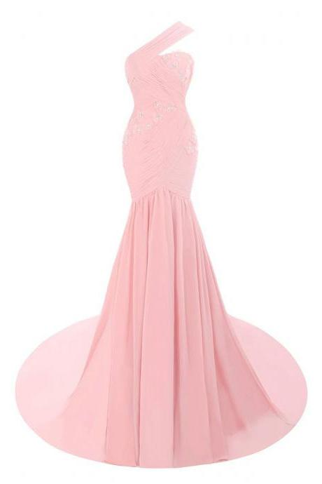 One-Shoulder Ruched Chiffon Floor-length Mermaid Evening Dress with Lace Appliqués