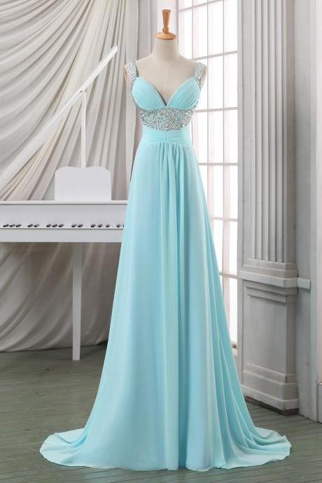Beaded Sequins Straps Ruched A-line Prom Dress, Lace-up Baby Blue Chiffon Prom Dress, Trendy Long Sweep Train Prom Dress, #020102702