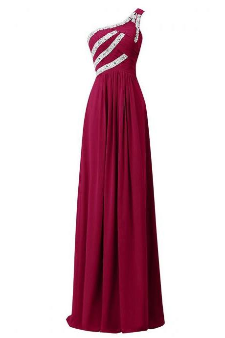 Beaded Sequins One Shoulder Ruched Long Prom Dress, Chic Burgundy Sheath Prom Dress, Unique Floor Length Chiffon Prom Dress, #020102711