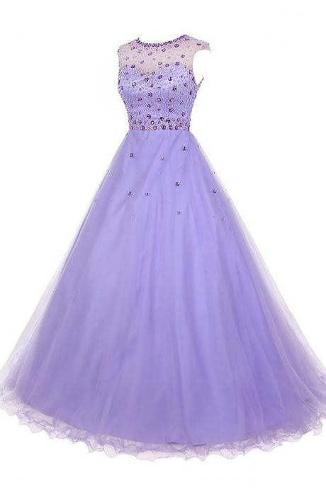 Crystal Jewel Neck Illusion Cap Sleeves Prom Dress, Beaded A-line Long Prom Dress, Lilac Key Hole Back Tulle Prom Dress, #020102714