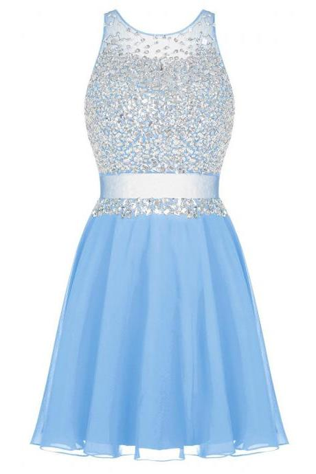 Beaded Embellished Crew Neck Sleeveless Short Chiffon Homecoming Dress, Formal Dress