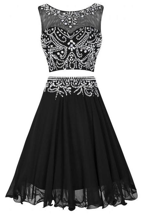 Black Two-Piece Homecoming Dress Featuring Beaded Chiffon Knee Length Skirt and Beaded Sweetheart Illusion Bodice with Keyhole Back