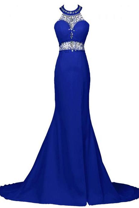 Royal Blue Floor Length Chiffon Trumpet Prom Dress Featuring Beaded Embellished High Neck Halter Bodice and Open Back