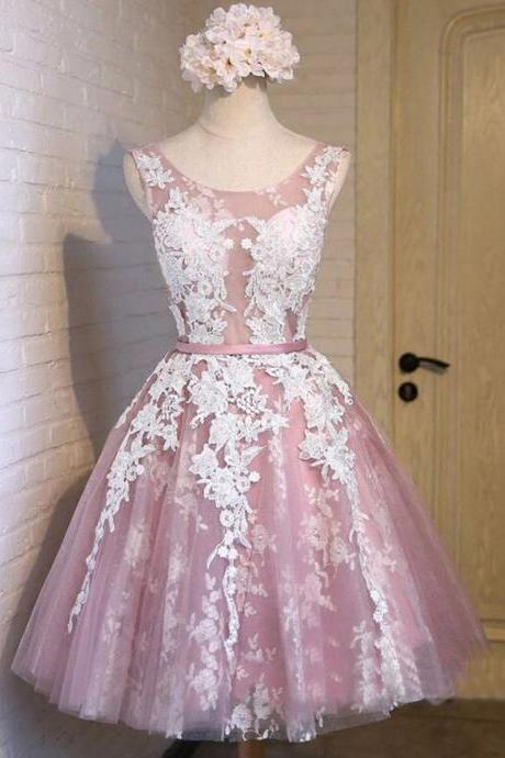 Scoop Neck See-through Tulle Prom Dress, Princess Lace Appliques Pink Short Prom Dress, Low Back Lace-up Mini Prom Dress, #020102736