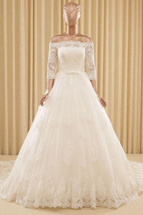 Elegant White Off the Shoulder A-line Wedding Dress, 3/4 Sleeves Lace-up Tulle Wedding Dress, Lace Appliques Ribbon Wedding Dress, #00022571