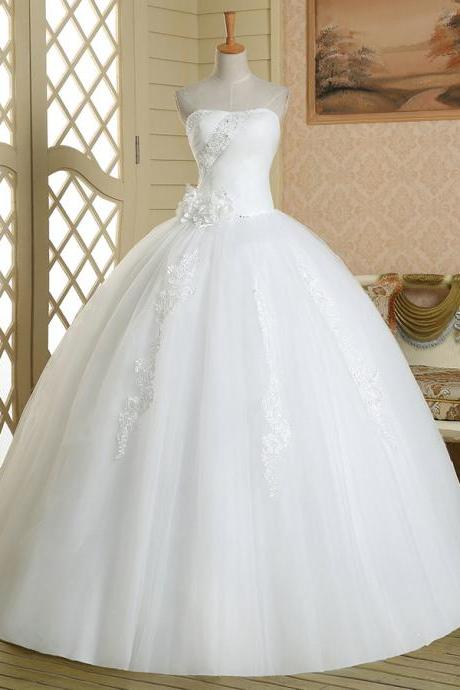 Exquisite Floral Ball Gown Wedding Dress, Asymmetric Crystal Beaded Strapless Wedding Dress, White Lace-up Floor Length Bridal Dress, #00022580