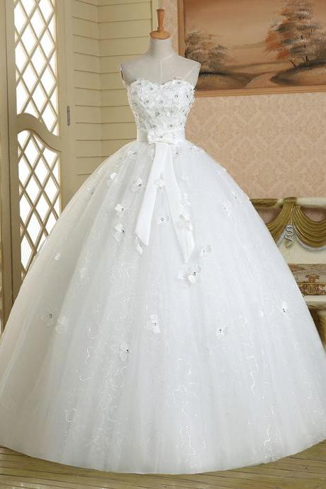Pure White Beaded Flowers Wedding Dress, Exquisite Floral Sash Ball Gown Wedding Dress, Shining Sequins Strapless Long Wedding Dress, #00022584