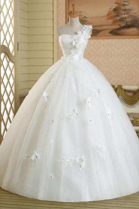 One Shoulder Sweetheart Wedding Gown with 3D Floral Appliqués