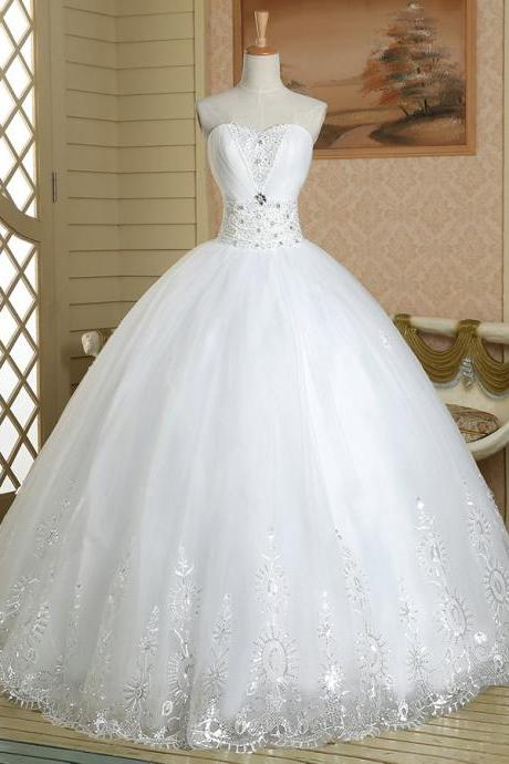 Sweetheart Floral Crystal Beaded Wedding Dress, Attractive Pure White Ball Gown Wedding Dress, Chic Lace Appliques Tulle Wedding Dress, #00022586