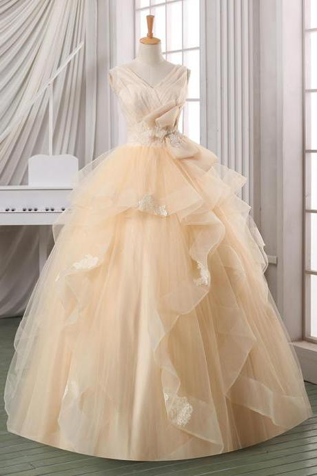 Complicated V-neck Champagne Wedding Dress, Ruffles Ball Gown Organza Wedding Dress, Open Back Lace Appliques Tulle Wedding Dress, #00022587