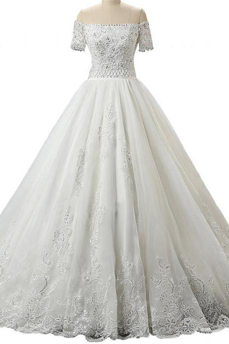 Off-the-shoulder Beaded Lace Appliqué Wedding Dress with Court Train