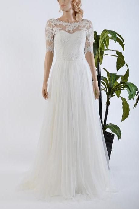 Bateau Neck Illusion Tulle Wedding Dress, Half Sleeves A-line Chiffon Wedding Dress, Lace Appliques Covered Buttons Wedding Dress, #00022567