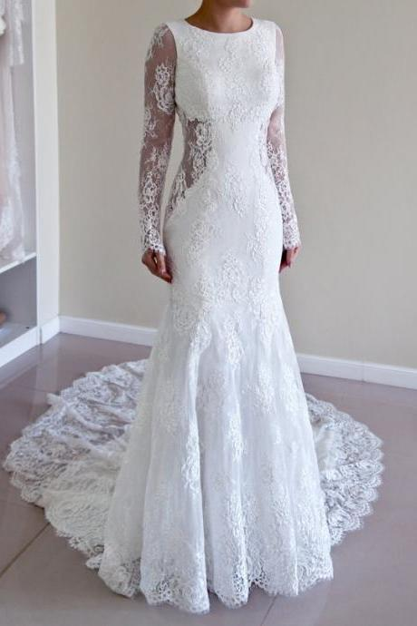 Long Sleeved Lace Mermaid Wedding Dress with Open Back and Court Train