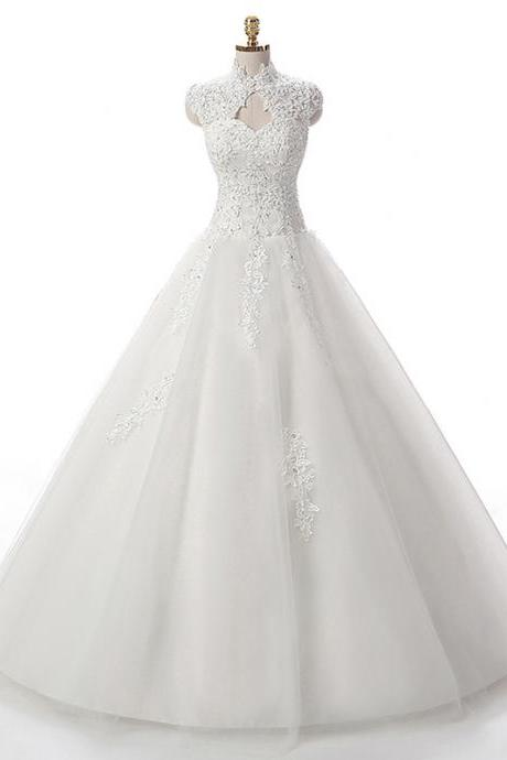 White Lace Appliqués Tulle Wedding Gown Featuring High Neck Cap Sleeve Bodice and Lace-Up Back