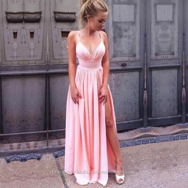 Long Prom Dresses,A-line V-neck Formal Evening Dresses,Silk-like Satin Pageant Dresses with Ruffle Split Front,#020106103