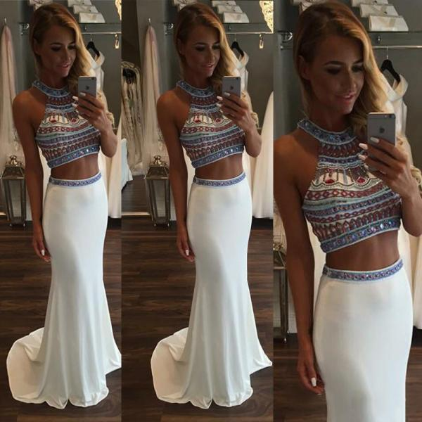 Two Piece Beaded Chiffon Prom Crop Top and Skirt, White Prom Dresses with Gemstones, Sleeveless Halter Prom Dresses, #020101850