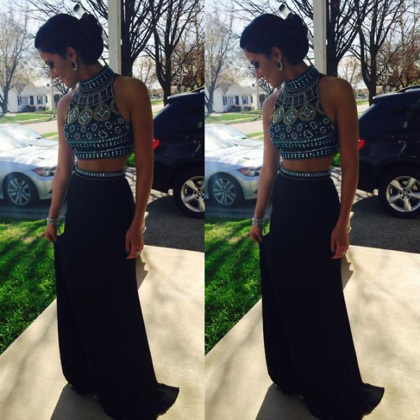 Two Piece Crystal Halter Prom Crop Top with Skirt, Long Prom Dress with Sexy Keyhole Back, Beaded Black Prom Dresses, #02018800