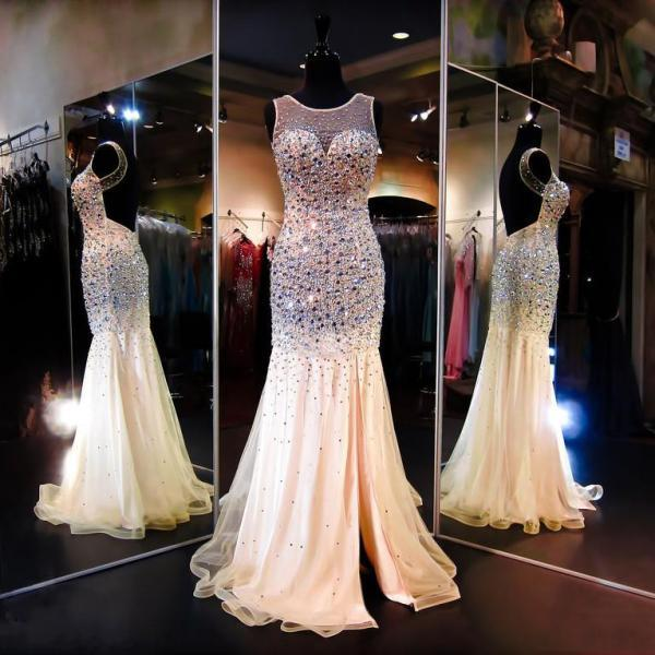 Illusion Prom Dresses with Crystal Beads, Unique Mermaid Backless Prom Dresses, Tulle Prom Gown with Glittering Gemstones, #020102181